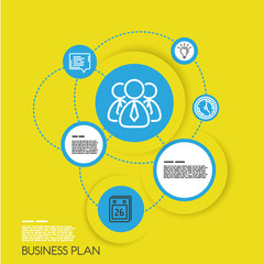 yellow template of business plan with icons