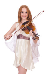 Ancient goddess with violin isolated on white
