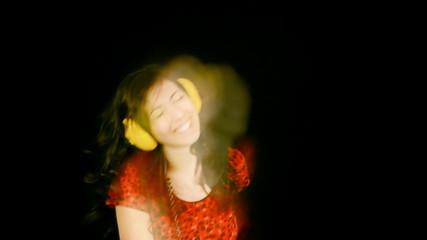 Music woman dance blur frantic