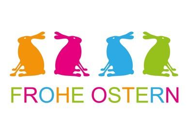 Osterkarte Abbildung Hasen seitlich Frohe Ostern