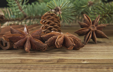 branches of fir-tree and seasoning