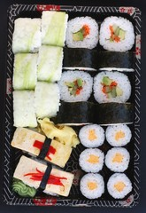Different types of vegetarian sushi