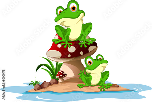 Funny frog sitting on mushroom - 80000173