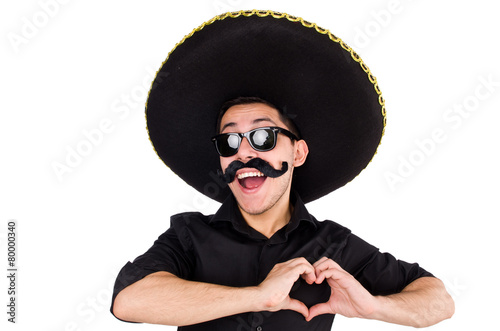 Funny man wearing mexican sombrero hat isolated on white - 80000340