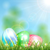 Easter background with shiny eggs
