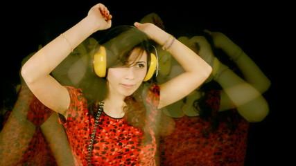 Music woman headphones blurry waving
