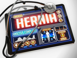 Hernia on the Display of Medical Tablet.