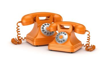 3d rendered retro telephones