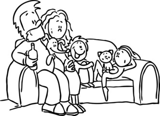 family sitting in the seat - black line vector illustration