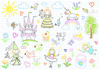 Vector sketches with princesses and fairy