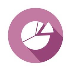 Icono gráfica circular morado botón sombra