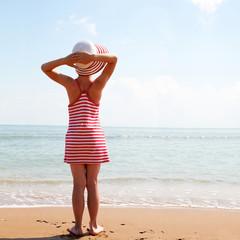 summer, morning, sea, girl - summer vacation concept