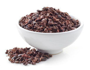 bowl of crushed cocoa beans