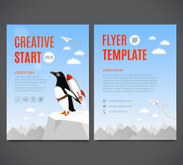 Template flyer, cover, book. Creative start and Creative idea