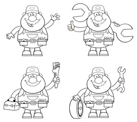 Black And White Illustration Of Mechanic . Collection Set
