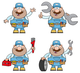 Cartoon Illustration Of Mechanic Character 6. Collection Set