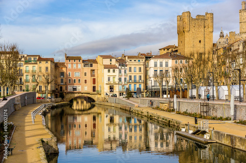 City on the water Canal de la Robine in Narbonne, Languedoc-Roussillon - France