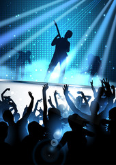 Rock concert party background with silhouettes of dancing people