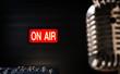 Leinwanddruck Bild - On air signboard in sound studio