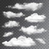 Set of transparent realistic clouds. Vector illustration - 80003123