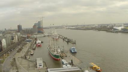 Aerial view of Hamburg and Hamburg port