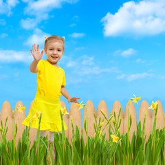 baby happy flowers garden background waving hello hand up