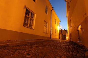 Typical street in Old Tallinn, Estonia