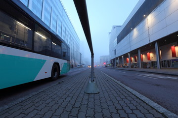Urban road in the morning mist