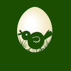 Vector night easter chick chicken silhouette frame