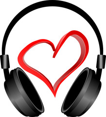 słuchhawki i serce 3D