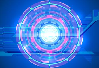 Techno scene on a blue background