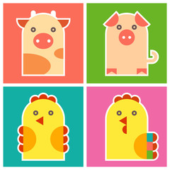 Farm animals -  chicken, cock, pig and cow