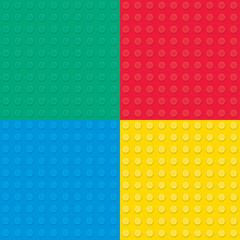 Set of four Building toy bricks. Seamless pattern.