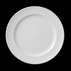 white plate on black