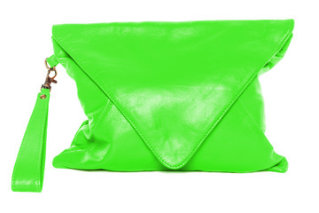 Woman bag isolated on white background lime color