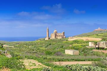 Ta Pinu Church in village Gharb Gozo island general view
