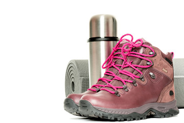 Hiker equipment isolated on white close up