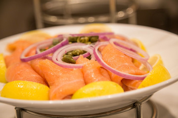 Platter of Smoked Salmon with Onion Lemon and Capers