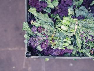Purple broccoli in box at market