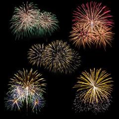 set of fireworks isolated on black background