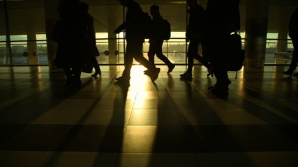 Moscow, March 2015, the crowd moves in Sheremetyevo airport