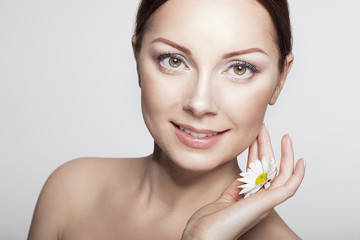 Close-up Beauty Woman Face. Perfect Skin.Body care.