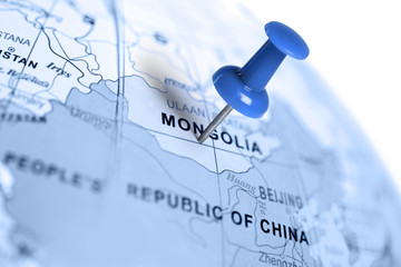 Location Mongolia. Blue pin on the map.