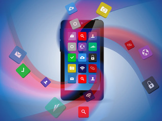 Smart phone with abstract waves and cloud of apps.