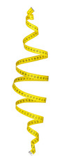 measuring tape spiral in the air on an isolated white background