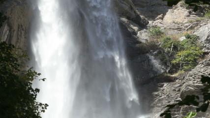 Powerful water flow in Uchan-su falls