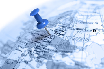 Location Poland. Blue pin on the map.