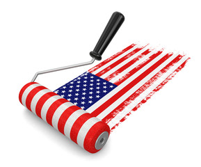 Paint roller with USA flag (clipping path included)