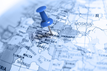 Location Romania. Blue pin on the map.