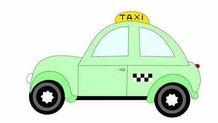 Taxi rides on a white background, advertising, animation